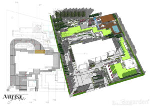Projekt nowoczesny ogród przy domu jednorodzinnym