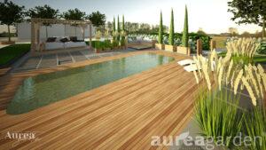 Projekt ogród z basenem